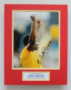 LUTHER BLISSETT In Watford Shirt SIGNED Autograph Photo Mount Display COA