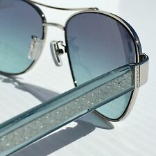 NEW* COACH 56mm Square Aviator Teal Silver w Teal Blue Lens Sunglass HC7064 L151