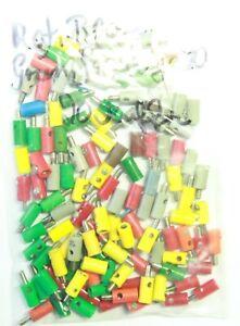 BRAWA u.a.  80 Stecker grün, gelb, rot, grau + 20 Muffen gemischt