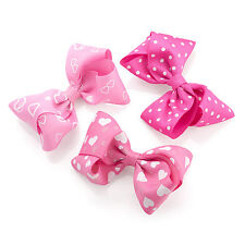 Three Piece Bow Design on Hair Clip Set Navy Red or Pink & White Girls Ladies
