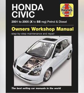 Honda Civic 2001- 2005 Petrol & Diesel (X To 55 Reg) Haynes Workshop Manual 4611