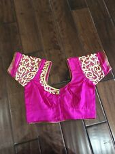 Indian Blouse For Saree Pink With Gold Embroidery