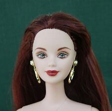LONG CHESTNUT HAIR BEAUTY Autumn in Paris BARBIE nude with GOLD HOOP EARRINGS