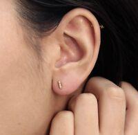 14K Solid Gold Brilliant Round Cut Natural Diamond Mini Bar Stud Earrings