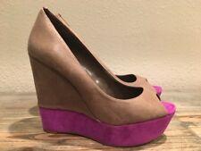 Jessica Simpson Women's Brown/Ultra Violet Peep Toe Wedge Heel Size 9.5 B