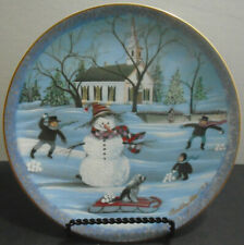 Vintage 1991 P Buckley Moss Porcelain Collector Plate The Snowman 3912 Of 7500