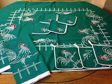 Vintage Hand Cross Stitched Set Rooster Table Cloth Napkins Pot Holders Towels