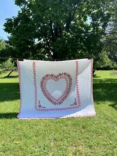 Vintage White Pink Chenille Muslin Beadspread Big Heart Design 96 x 100 inches