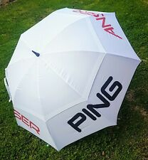 "*Brand New* Large 68"" PING Anser golf Umbrella - White/Red - double canopy"