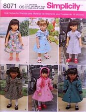 "18"" GIRL DOLL CLOTHES*DRESS*COAT American Made Simplicity Sewing Pattern 8071"