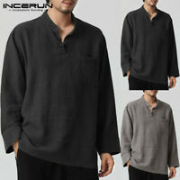 Men's Casual Shirt Cotton Linen Long Sleeve Tops Yoga Solid Loose Shirts Blouse