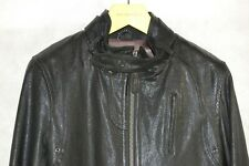 MACKAGE MEN LAMB SHEEP BLACK LEATHER BIKER RIDING FITTED JACKET US 38 OR SMALL
