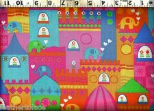 Timeless Treasures ~ Bright Elephant Houses  100% Cotton Sewing Quilt Fabric BTY