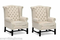 2x Beige Linen Lounge Club Scroll Captain Dining Chairs Button Tufted Nail Head