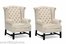 2 BEIGE LINEN LOUNGE CLUB SCROLL CAPTAIN DINING CHAIRS BUTTON TUFTED NAILHEAD