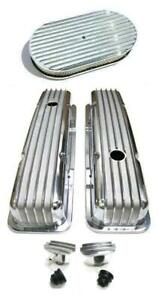 """SBC Chevy Polished Aluminum Finned Valve Covers + 15"""" Air Cleaner & Breather PCV"""