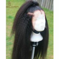 Yaki Kinky Straight Brazilian Virgin Human Hair Wig 360 Lace Frontal Wigs Black
