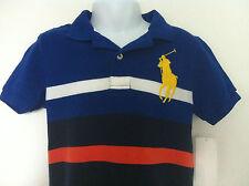 Ralph Lauren Polo Shirt Royal/NavyBlue/White/Orange Stripe Lg Yellow Logo 4T NWT