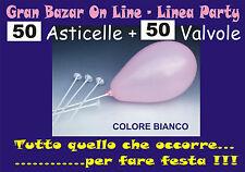 ASTE E VALVOLE per PALLONCINI colore BIANCO 50 Pz. FESTA PARTY ANIMAZIONE