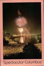 Fireworks over Spectacular Columbus Ohio, Scioto River, Bridge, Night - Postcard