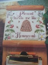 Honeycomb Words Proverbs 16:24 Magazine Cross Stitch Pattern (P)