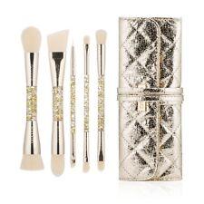 5pcs Dual End Makeup Brushes with PU Leather Case Makeup Brush Golden Tools Set