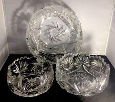 Set of Vintage Crystal Cut Glass Trifle Fruit Bowls