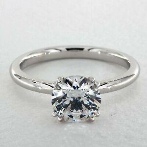 3 Ct Round Cut Diamond 14K White Gold Finish Solitaire Engagement Wedding Ring