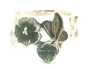 Sterling Silver Ring  enamel flowers and butterfly by PAT CHENEY size K