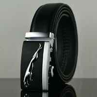 Men's Trend Jaguar Automatic Buckle Belt Genuine Leather Ratchet Strap Gift Belt