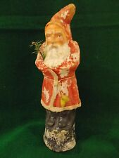 "🎄 Antique 10 3/4"" RED Robe Santa / Belsnickle German Candy Container w/SNOW #2"