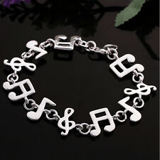 New Women Silver Plated Charm Cute Music note Chain Bracelet Bangle