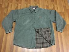 Mens 2Xl - Vtg Carhartt S96 Flannel Lined Rancher Work Metal Snaps Shirt Moss