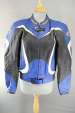 CORNER BLACK, BLUE & WHITE LEATHER BIKER JACKET WITH REMOVABLE CE ARMOUR 40 INCH