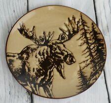 Moose 10.5 Inch Glazed North American Woodlands Design Plate Unison Gifts Brown