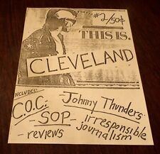 "JOHNNY THUNDERS - ""THIS IS CLEVELAND"" #2 - PUNK ROCK FANZINE 1986 CLEVELAND, OH"