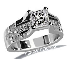 1.55CT GENUINE PRINCESS CUT DIAMOND ENGAGEMENT WEDDING RING 14K WHITE GOLD PD74G
