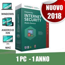 Kaspersky Internet Security Multi device 2018! 1 Pc dispositivo 1 anno originale
