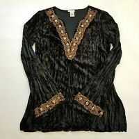 PAGE Black Long Bell Sleeve Crushed Velvet Top Blouse Beaded Size Large Lined