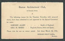 1901 PC ARCHITECTURAL CLUB BOSTON MA MESSAGE HALF UY1M VOTE FOR SEE INFO
