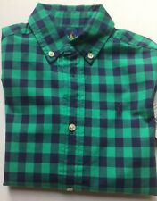 BNWT Ralph Lauren Boys Kids  Long Sleeve Shirt Age 3 green/black Check with smal
