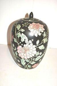 Chinese Porcelain Rose Covered Jar/Urn/Vase Red Maker Mark Decor