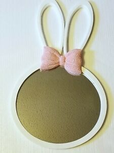 """22"""" Bunny Ears Pink and White Resin mirror children bedroom"""