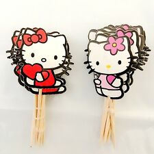 24pcs birthday Party decoration Baking hello kitty cat Cakes inserted card gift