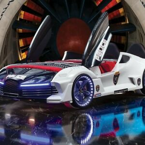POLICE Luxury Full Car Bed with BLUETOOTH, LED Lights,  Music & Fob WHITE