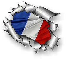 CLASSIC Ripped Open Torn Metal Rip & France French Country Flag car sticker