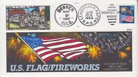 1987 #2276 FLAG & FIREWORKS FDC W/ ROMPEX RPO CXL + COLLINS HAND-PAINTED CACHET