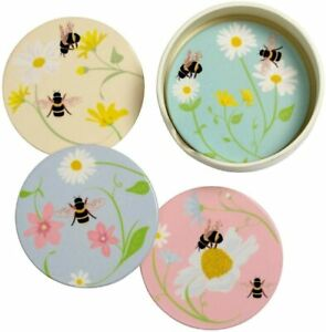 Set of 4 Bumble Bee Happy Ceramic Round Coasters Flower Drink Tea Coffee Mats