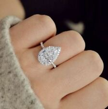 3.85 Ct Halo Pear Brilliant Cut Diamond Engagement Ring Round Pave F,VVS1 GIA
