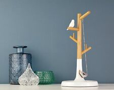 Necklace Display Stand Wood and White with a Modern Bird Tree Display